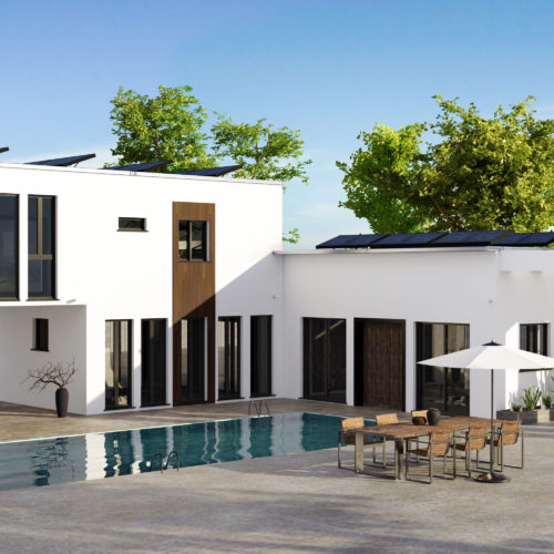 3D render of modern luxury house with large rectangular swimming pool. Property equipped with security cameras and solar panels. Wooden table with chairs and sun umbrella next to pool.